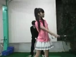 ノーパンギャルがゴルフ練習場でオヤジを誘惑して痙攣エッチ!01