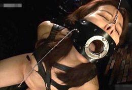 口枷イラマチオに乳首吸引拷問!アナルにブチ込まれヒクヒク痙攣!葵紫穂